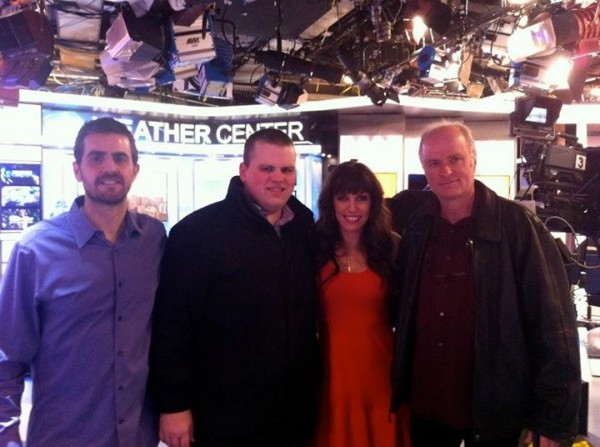 With my band, bassist, Paul Gill ( far left), Drummer, Aaron Kimmel ( left) and guitarist John Hart ( right)- at a morning TV appearance - Feb 2013