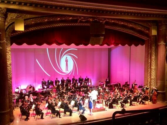An awesome bird's eye view of my James Bond 007 gig with the Evansville Philharmonic Orchestra may 17 2014 with Maestro Alfred Sava