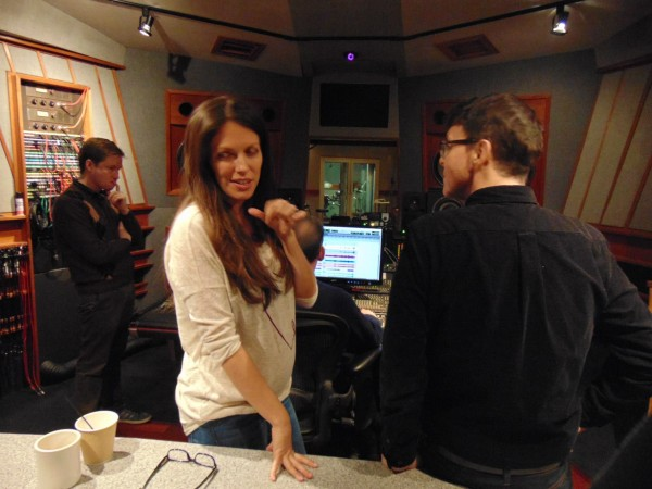 Recording sessions Judy Garland project at the sound board with album producer Richard Barone (Photo by my guest Kimberly Loeffler-Jan 8, 2015)