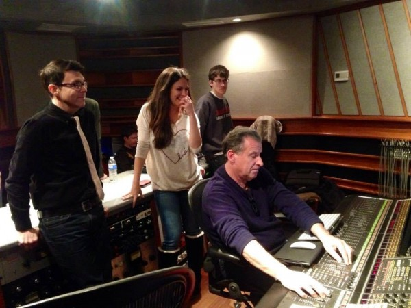 Recording sessions Judy Garland project at the sound board with album producer Richard Barone & Eastside Sound studio Owner/sound engineer Lou Holtzman (Photo by my guest Kimberly Loeffler-Jan 8, 2015)
