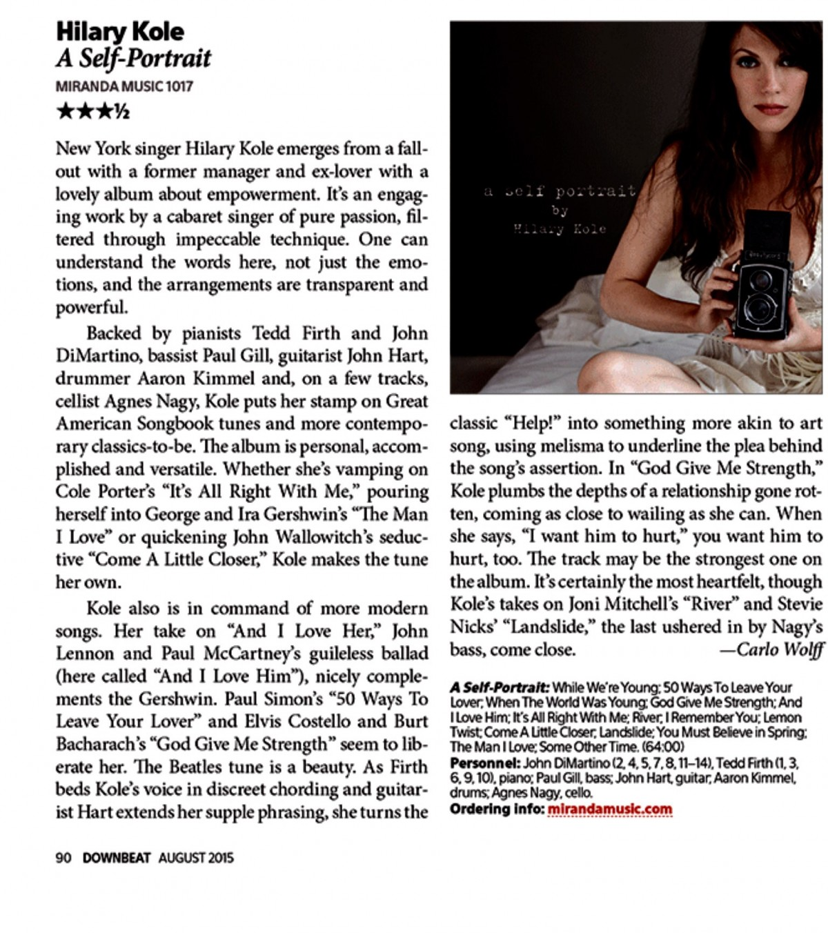 Downbeat Magazine review Aug 2015