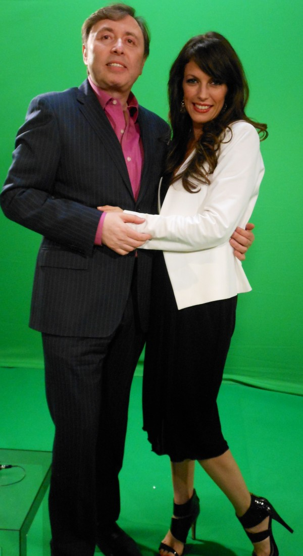 With my friend, performer and TV host, Oleg Frish- at a taping of an interview for his Russian TV show--Nov 2013