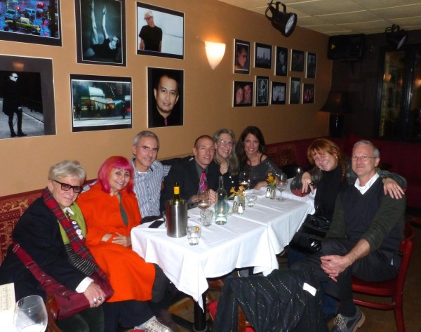 Celebrating late into the night after my last set, with James Gavin's party, who arrived after his Rex Reed interview and signing for his newest book, a biography of Peggy Lee--With Jackie Rudin, Penny Arcade, Stephen Shanaghan, JG, Joan Moossy, Carol Lipnik, Stephen Pullan, Café Noctambulo, Nov. 12.