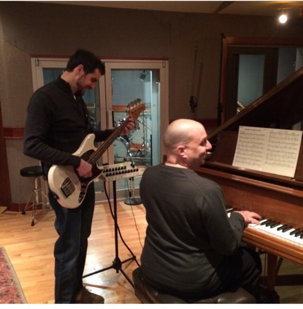 In the studio with Paul Gill (bass & guitar) & John DiMartino (piano)