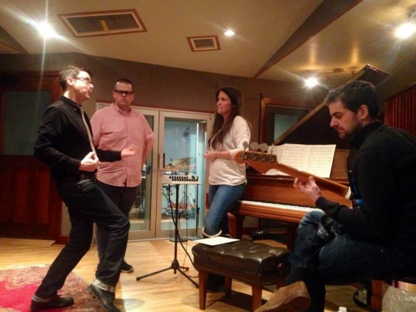 Recording sessions Judy Garland project with album producer Richard Barone, Drummer Arron Kimmel and bassist/guitarist Paul Gill (Photo by my guest Kimberly Loeffler-Jan 8, 2015)